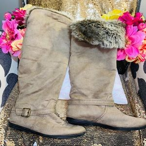 Taupe fuzzy tall boots